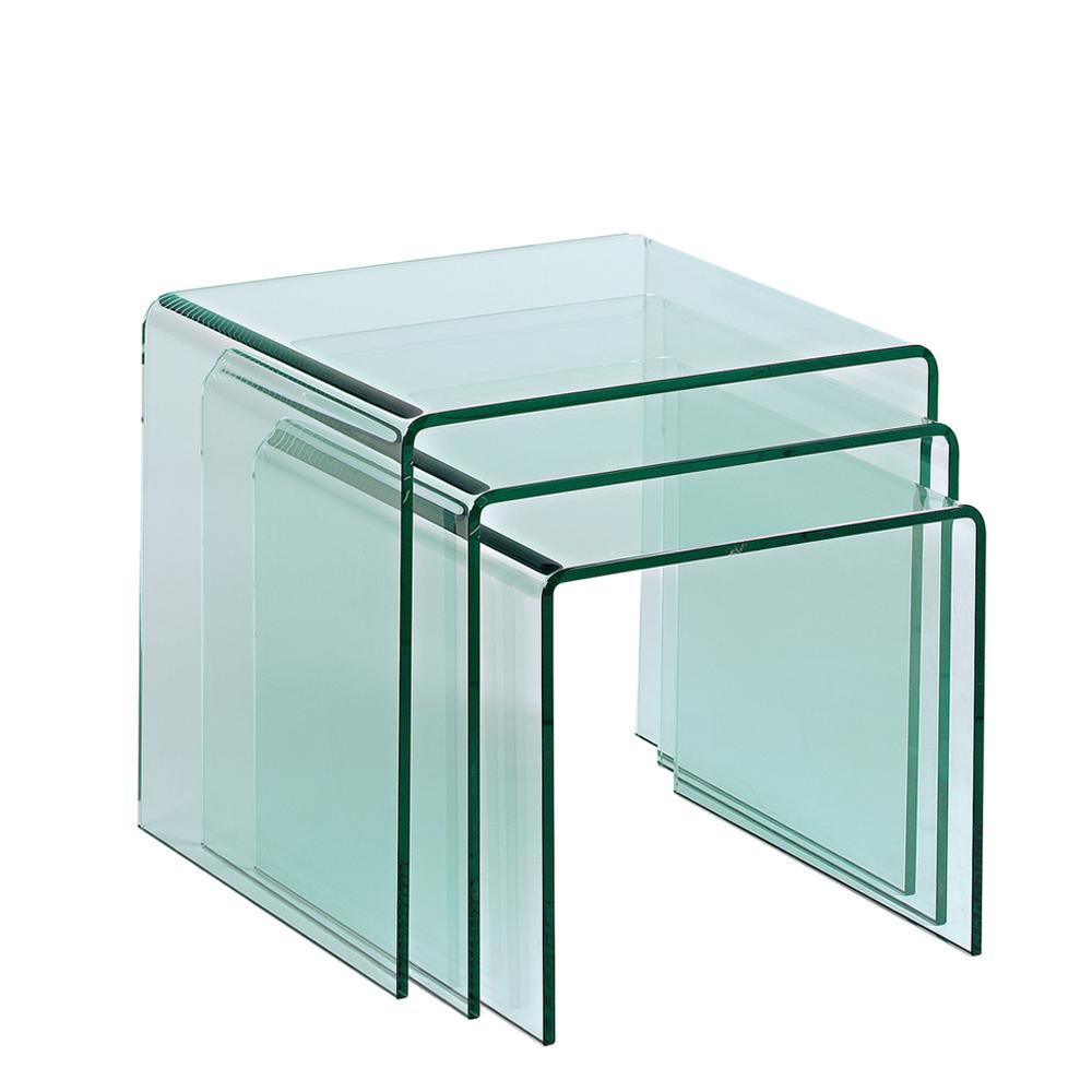 Pulito glass nest of tables clear
