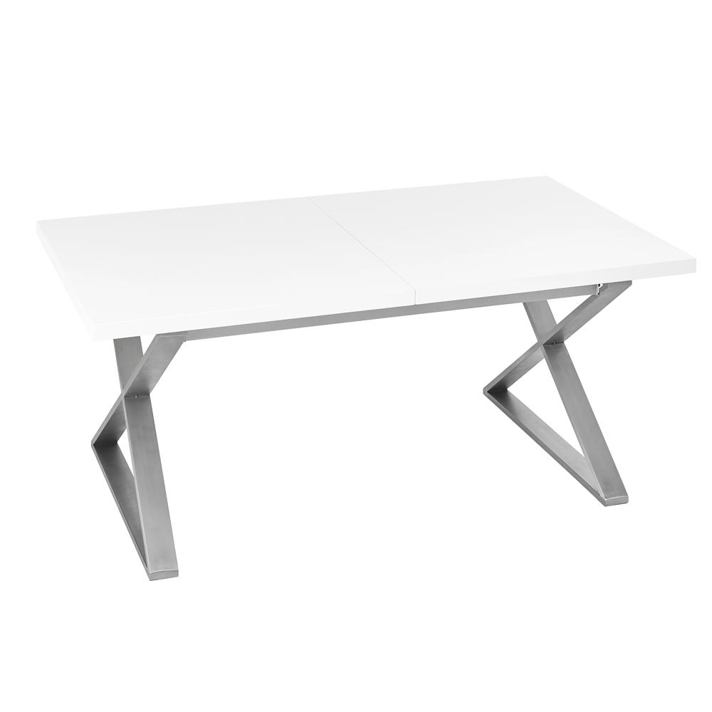 Attra gloss extending 6-10 seater dining table brushed steel leg white