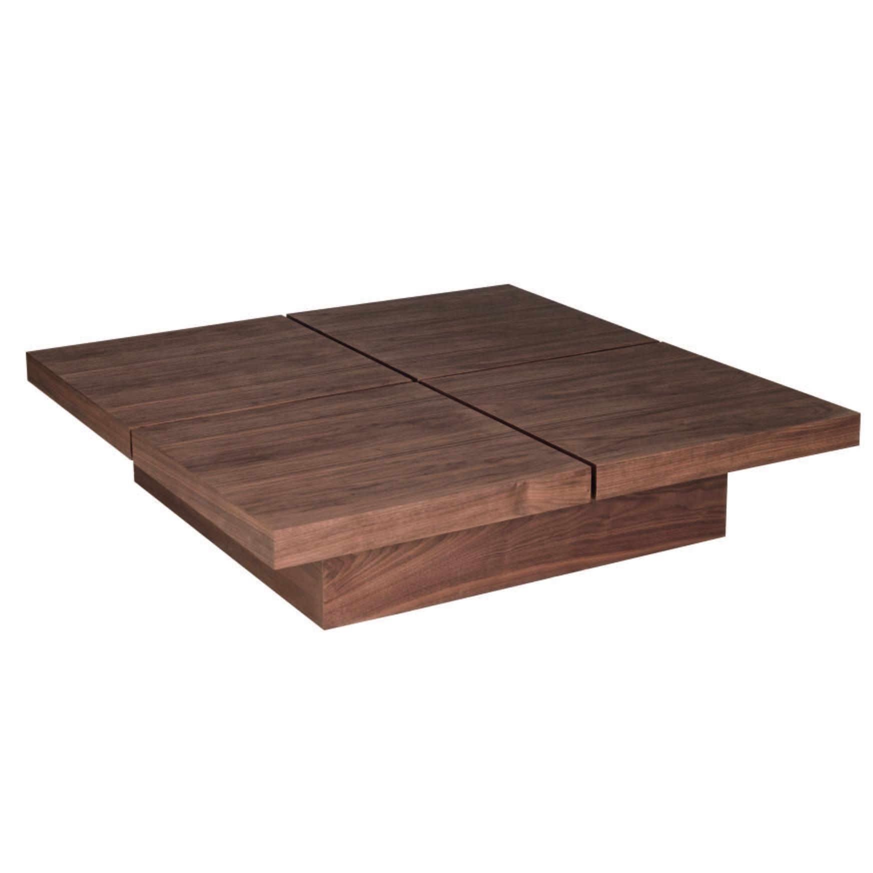 Basso four block storage coffee table walnut
