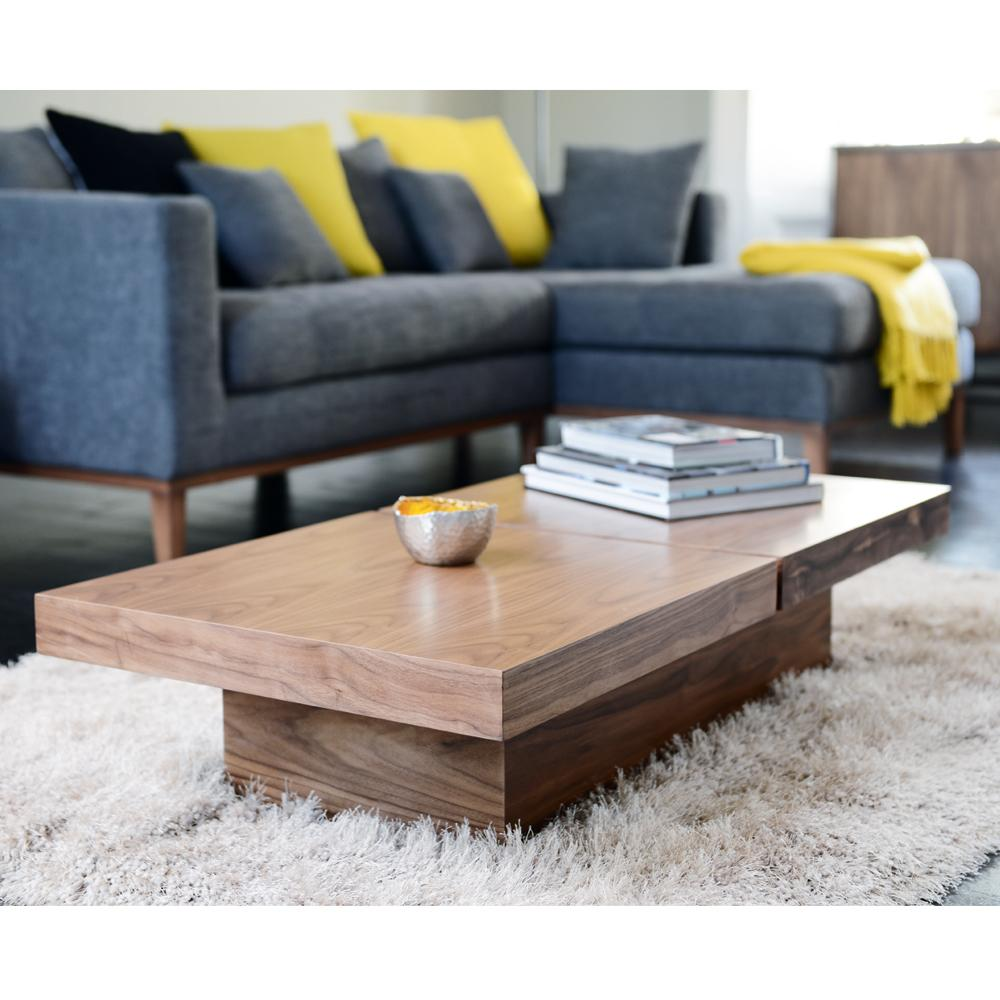 Basso two block storage coffee table walnut