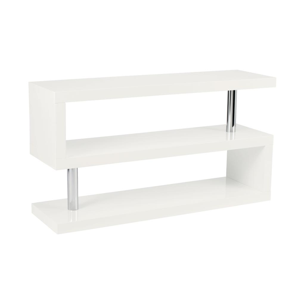 Contour TV unit with shelving white