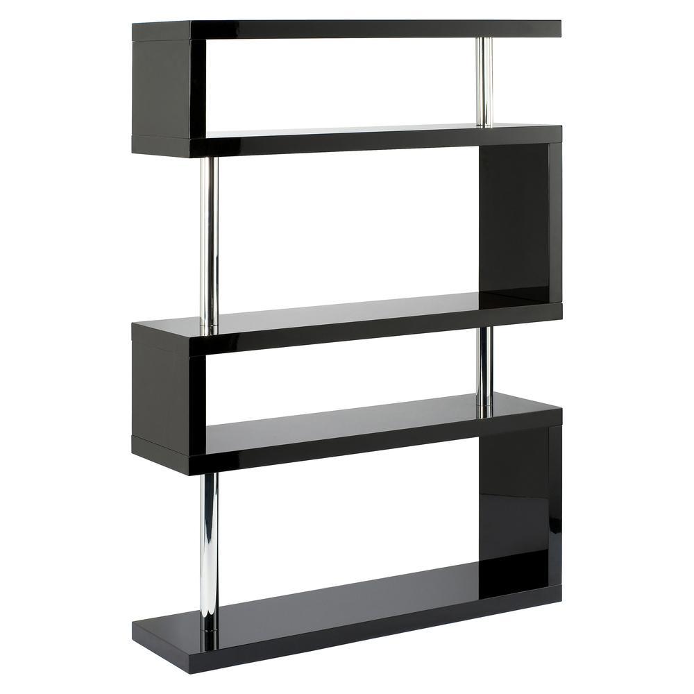 Contour wide shelving bookcase black