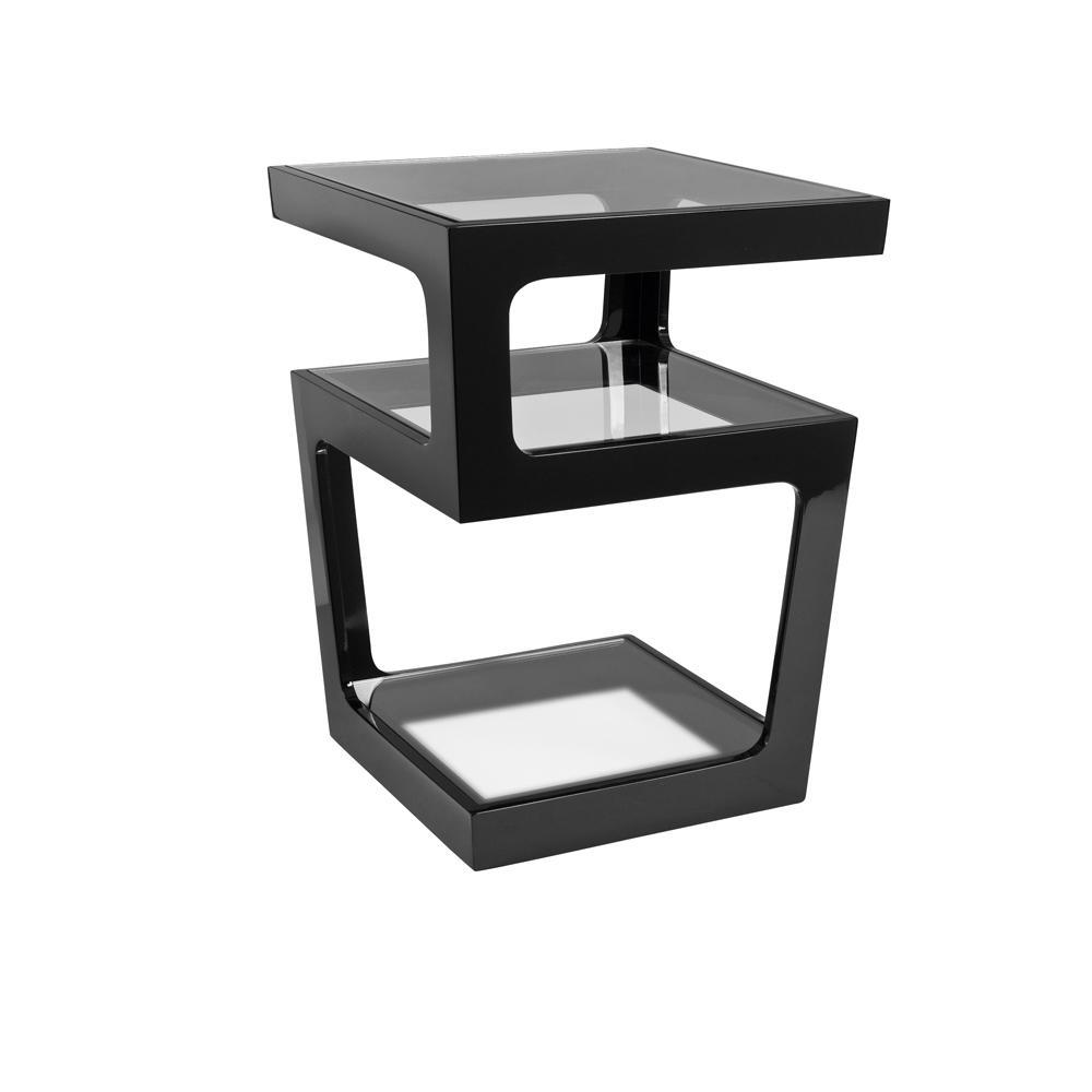 Triple level gloss side table black