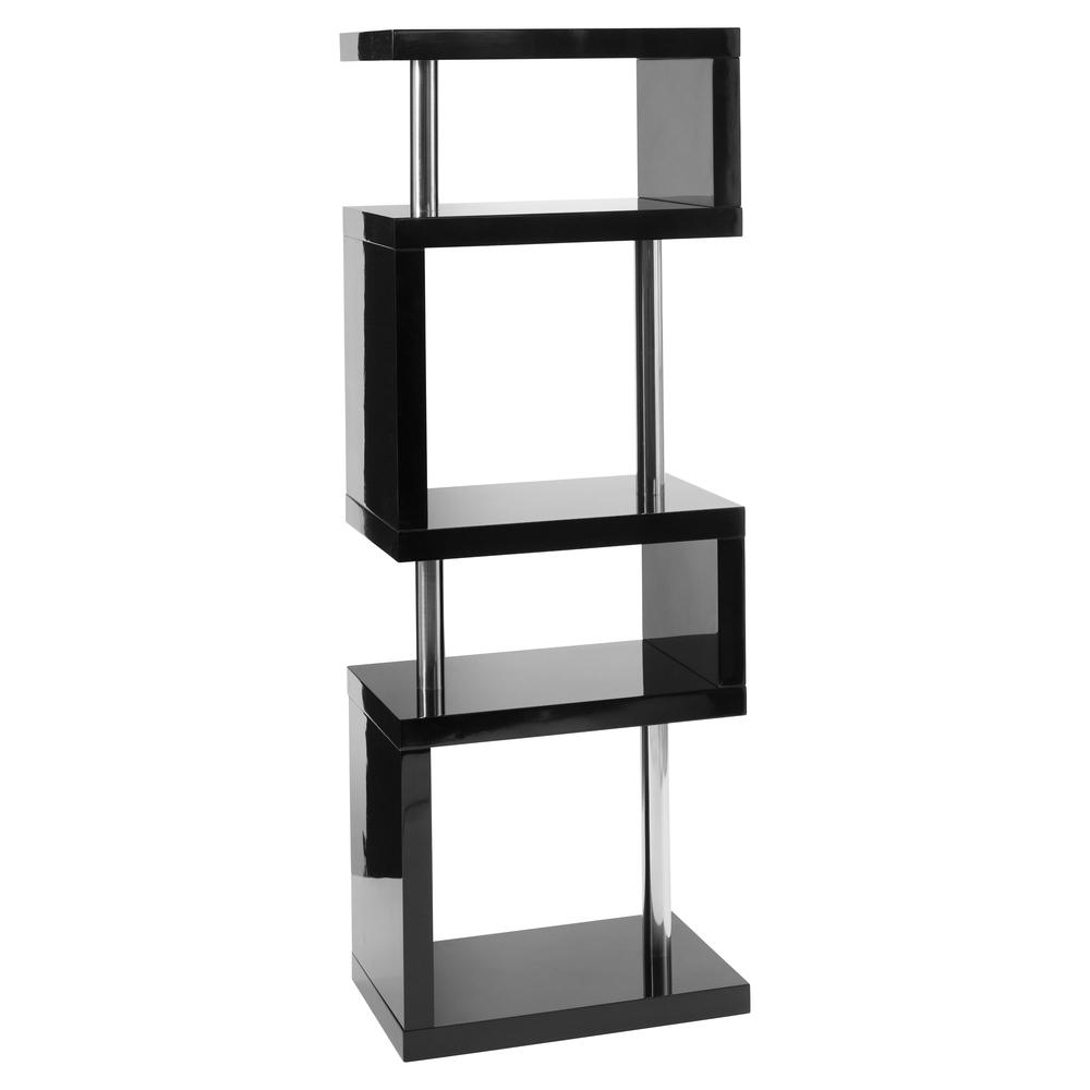 Contour slim shelving bookcase black