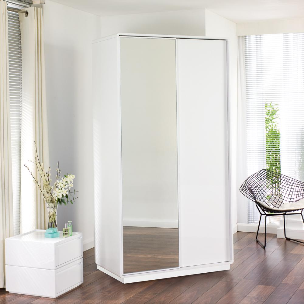 Malone II sliding mirror door wardrobe white