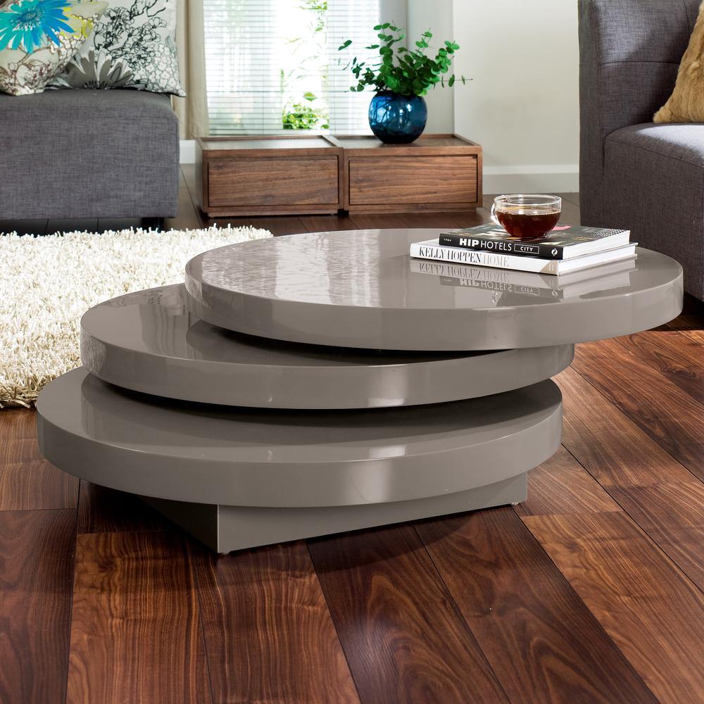 Triplo Round Gloss Swivel Coffee Table Stone Dwell