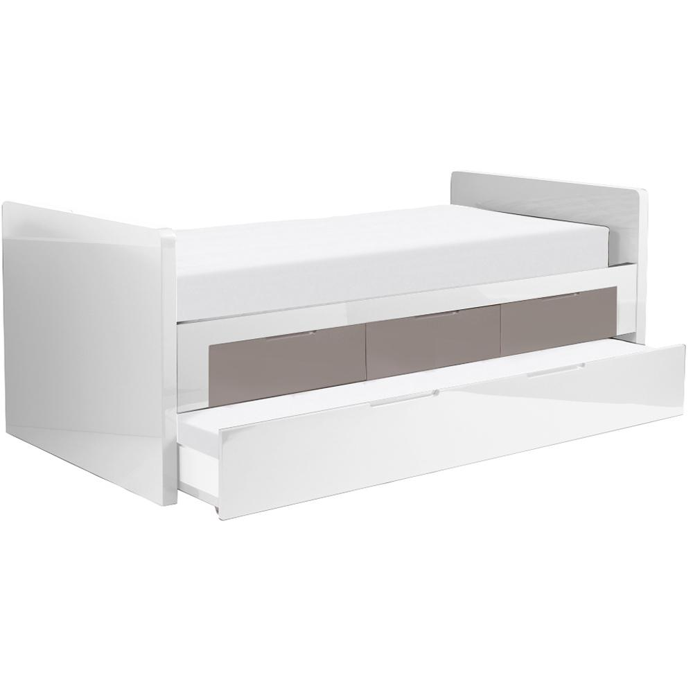 Buddy bed with extra guest bed white and stone