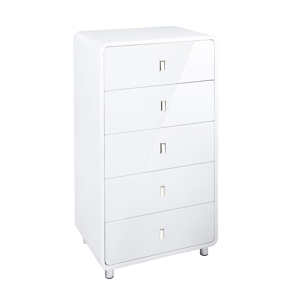 Malone II five drawer chest of drawers white