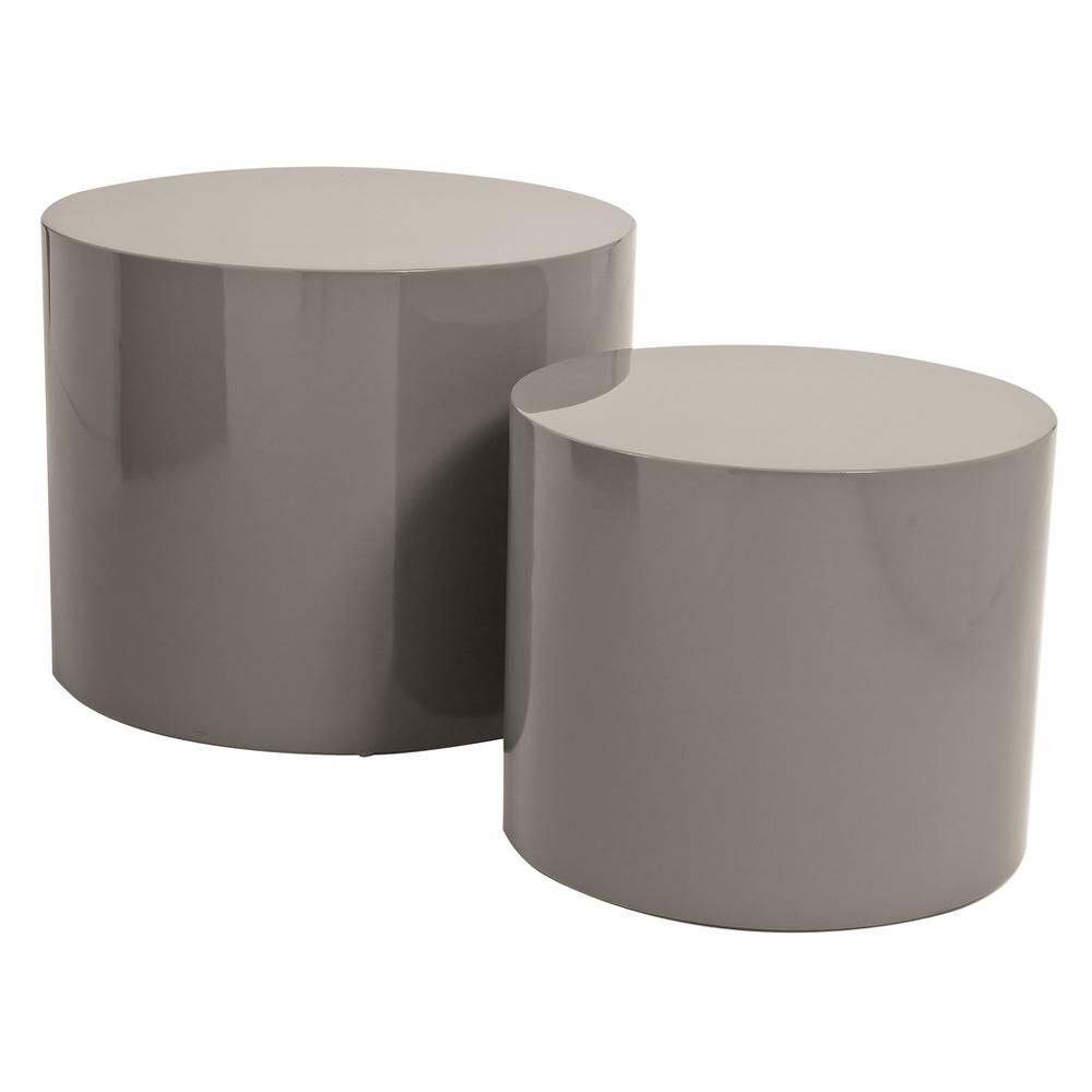 Circolare gloss stacking side tables stone
