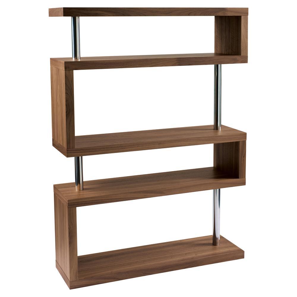 Contour wide shelving bookcase walnut