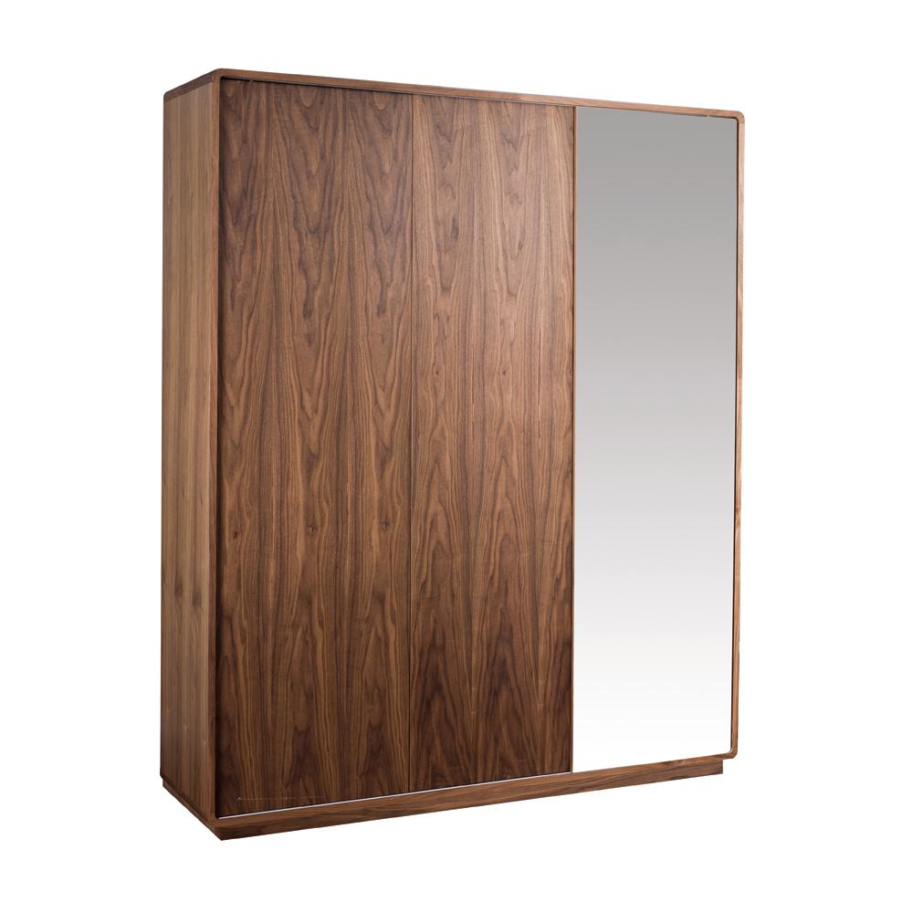Malone II sliding mirror door wardrobe large walnut
