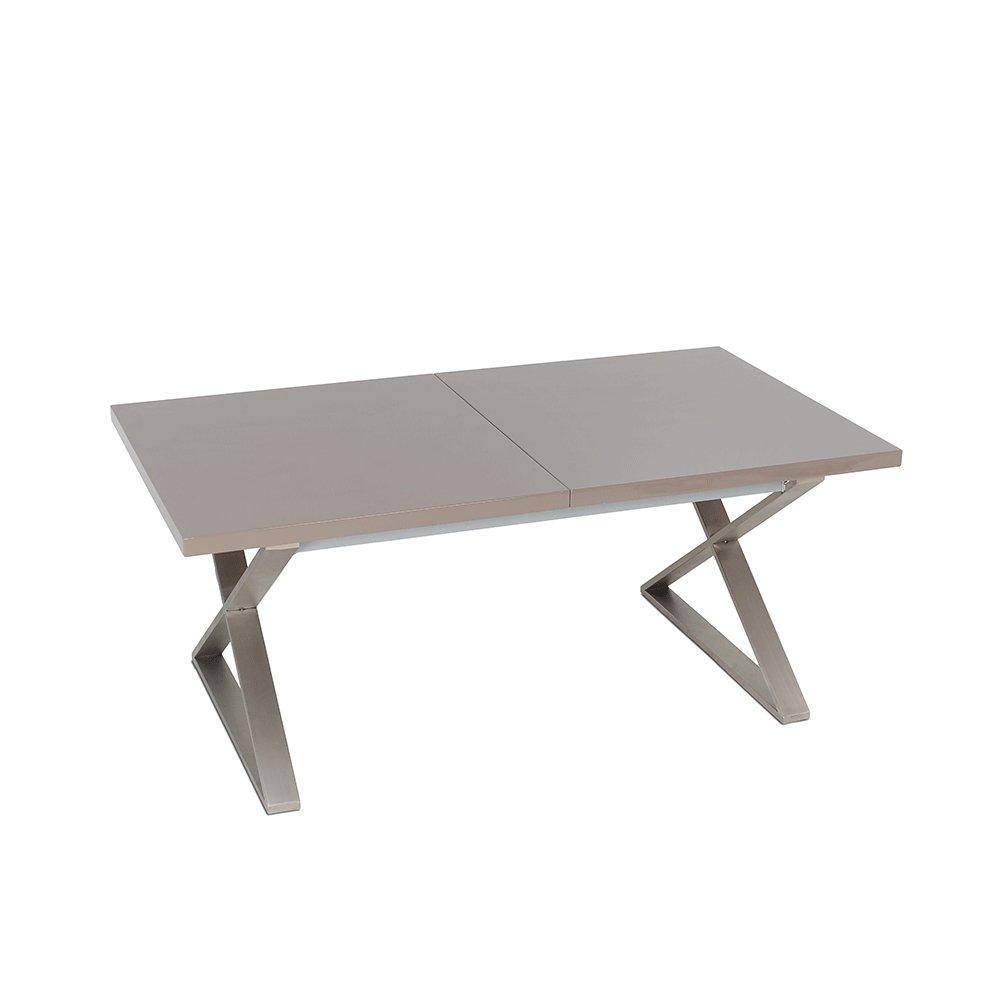 Attra gloss extending 6-10 seater dining table brushed steel leg stone