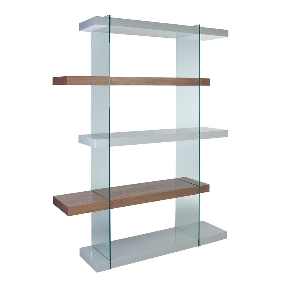 Sturado tall shelving light grey and walnut