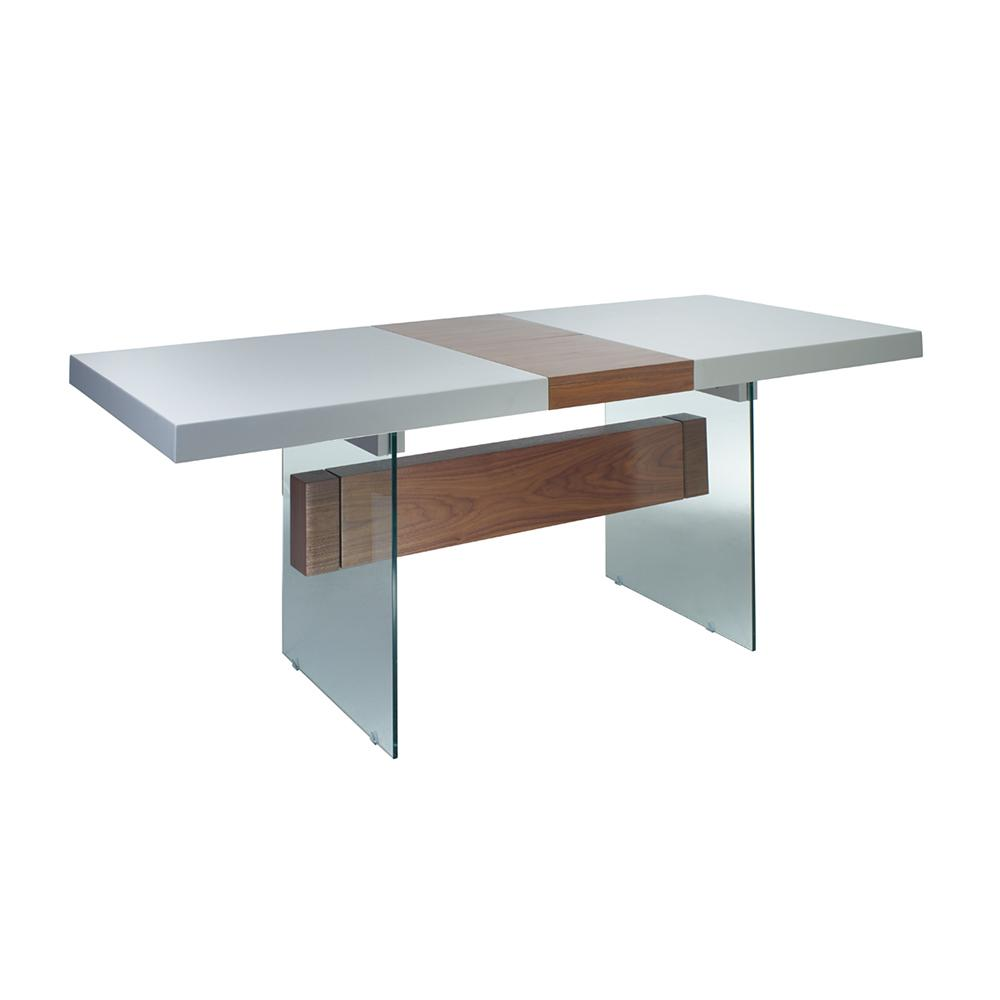 Sturado extending 6-8 seater dining table light grey and walnut