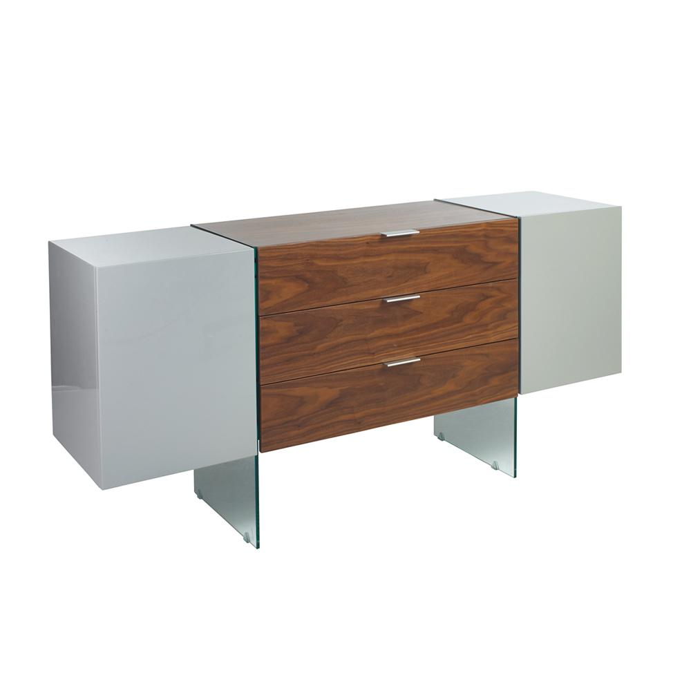 Sturado sideboard light grey and walnut