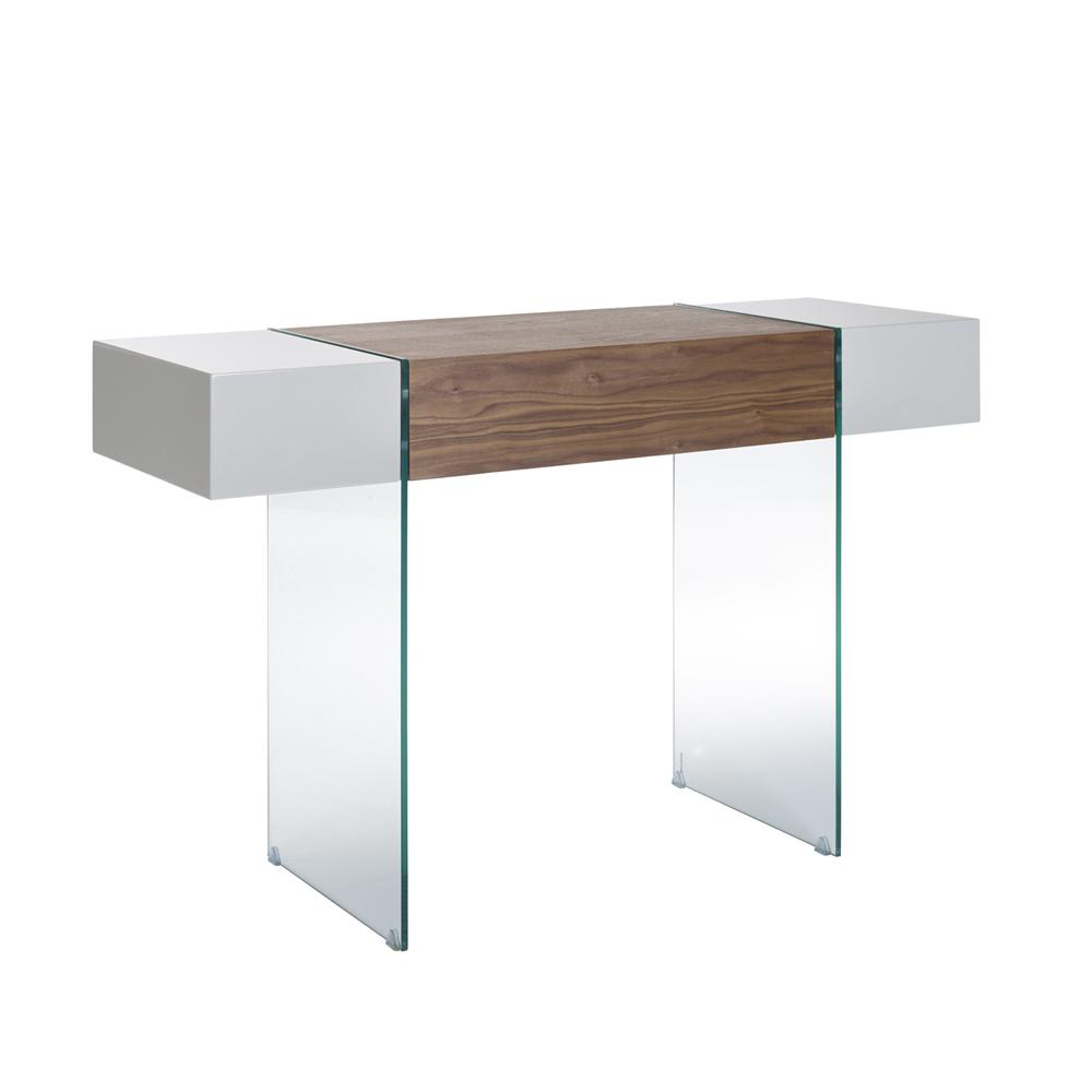 Sturado console table with drawer light grey and walnut