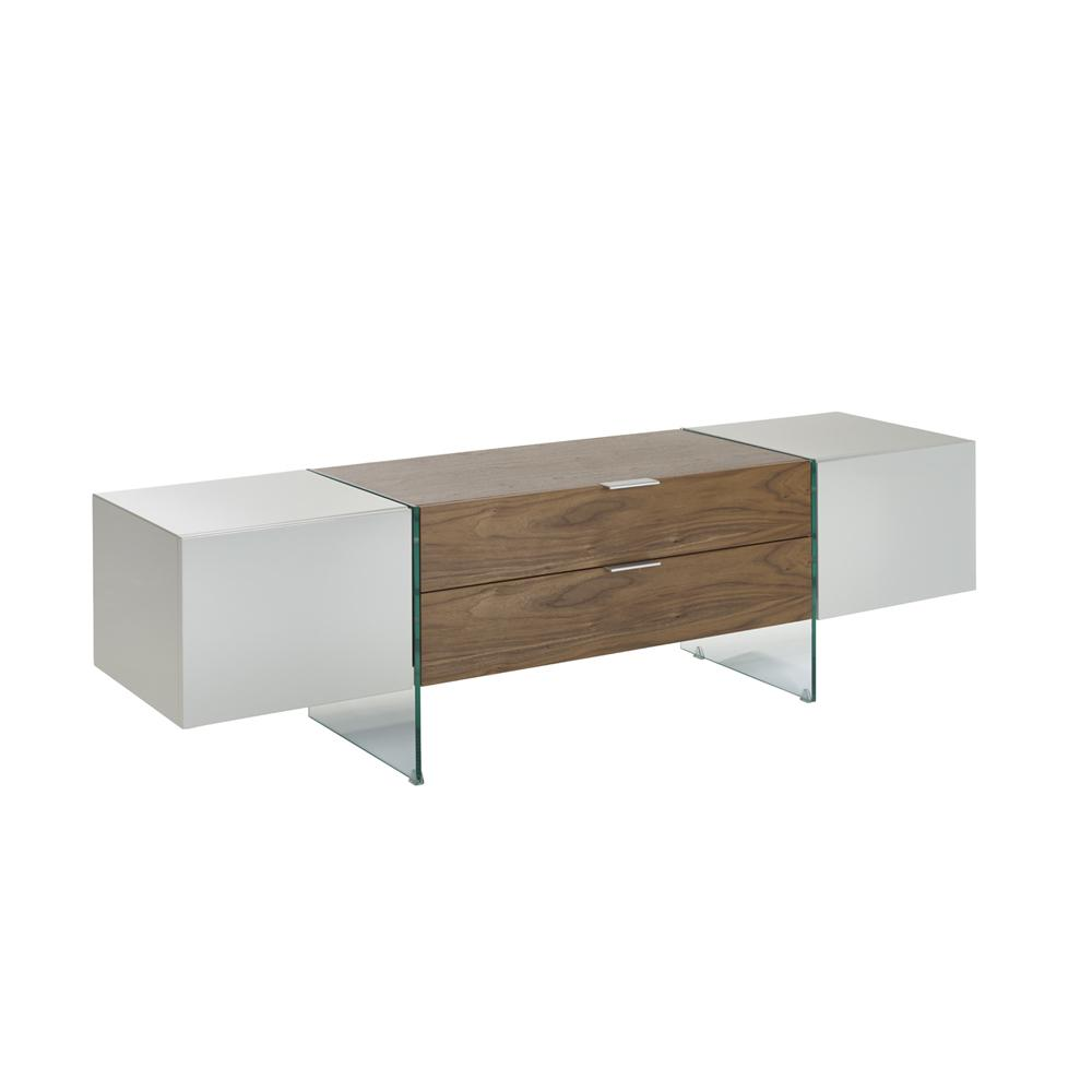 Sturado TV unit light grey and walnut