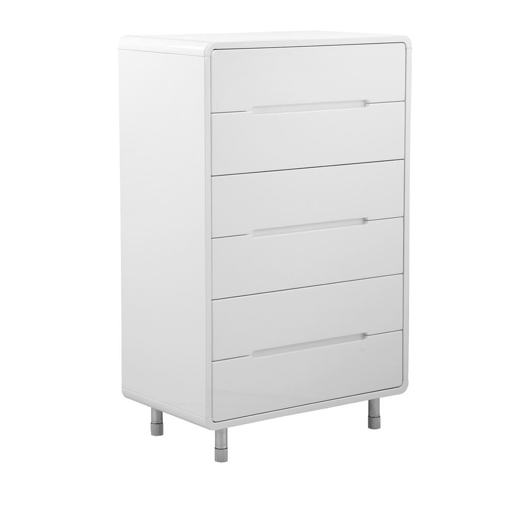 Notch II tall chest of drawers white