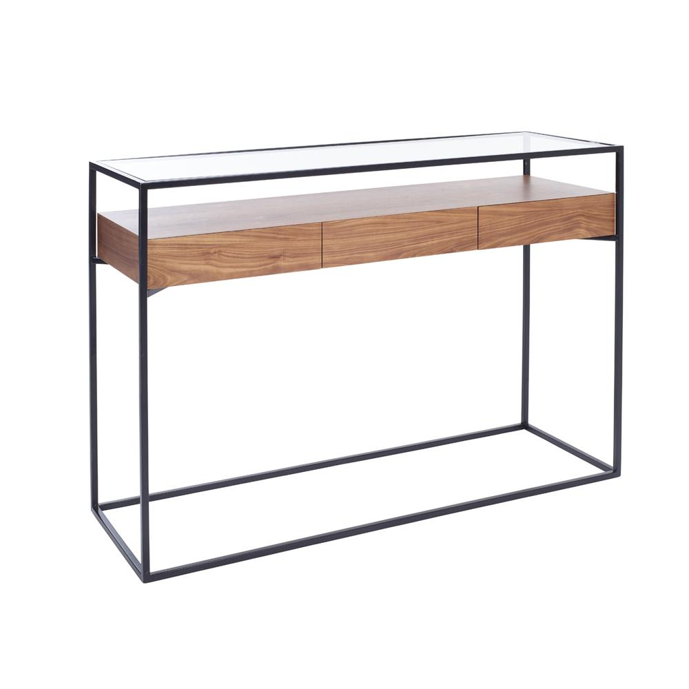 Divario console table with drawers walnut