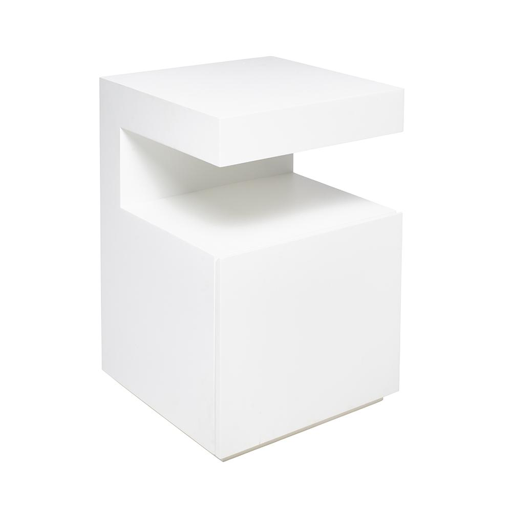 Caja bedside table with drawer white