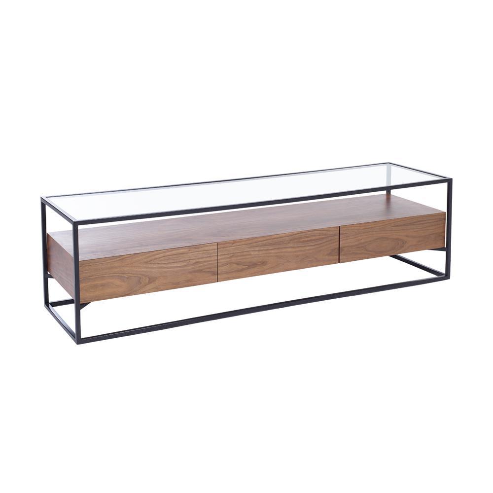 Divario TV unit with drawers walnut