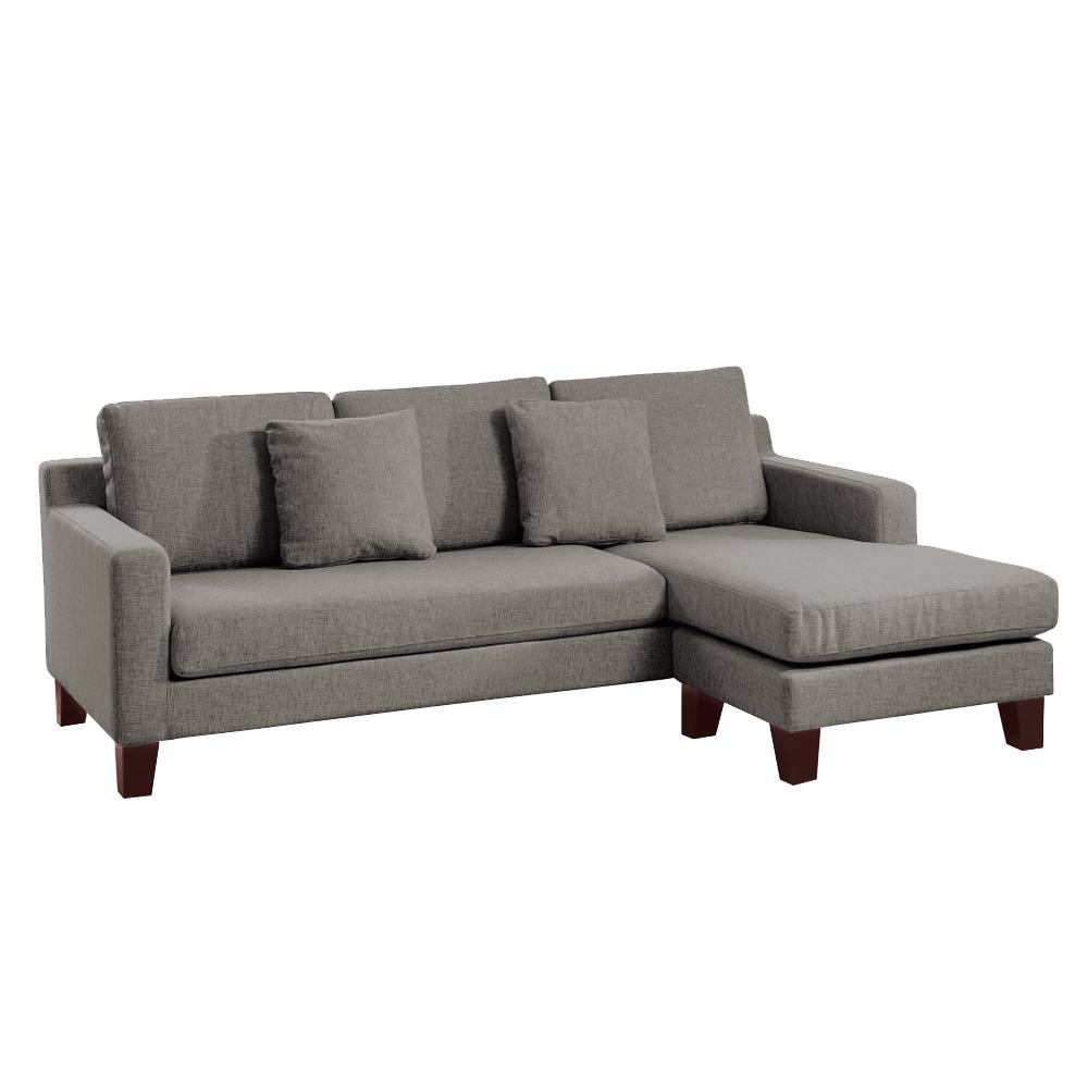 Ankara II right hand facing three seater chaise sofa patet light grey
