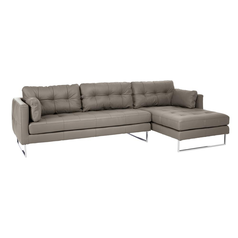 Paris II right hand facing four seater chaise sofa grano leather  dove grey