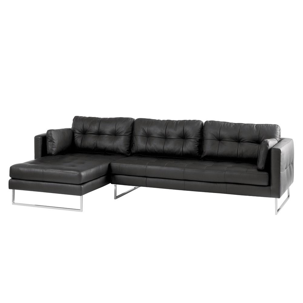 Paris II left hand facing four seater chaise sofa grano leather jet black