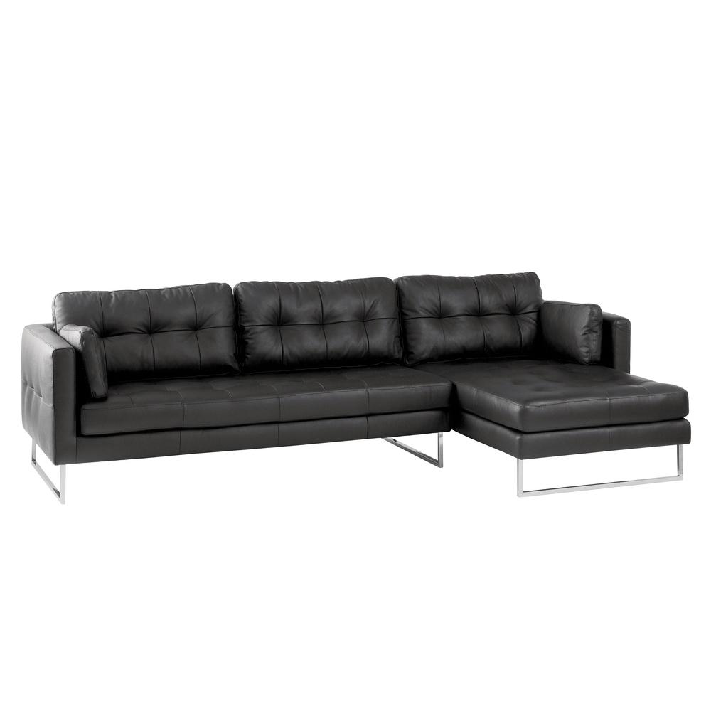 Paris II right hand facing four seater chaise sofa grano leather jet black