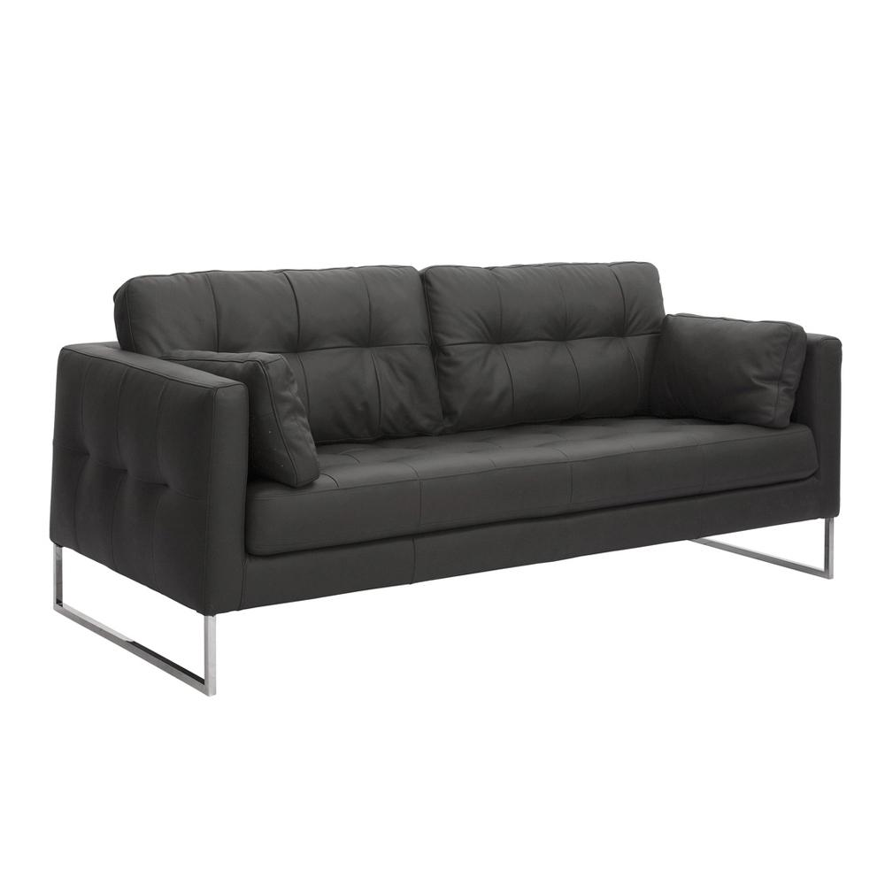 Paris II three seater sofa grano leather jet black