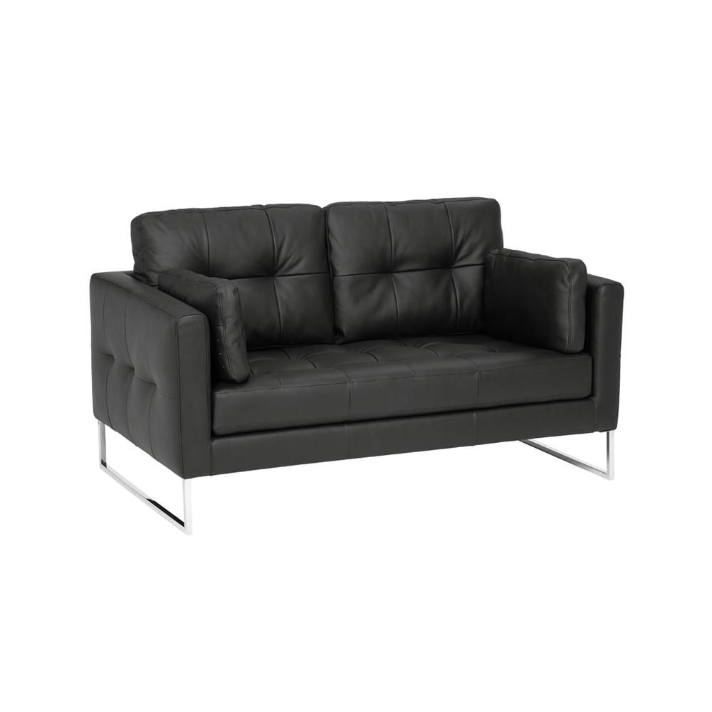 Paris II two seater sofa grano leather jet black