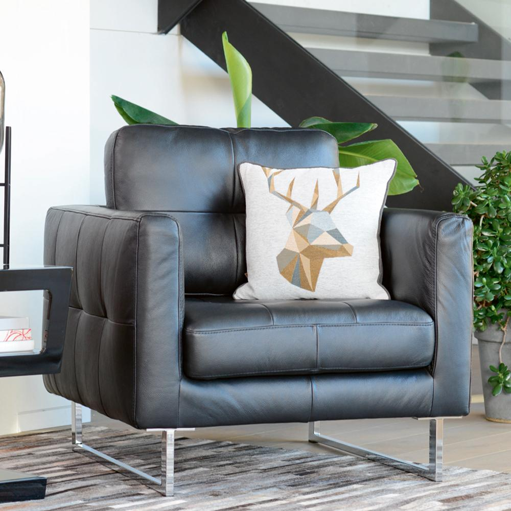 Paris II armchair grano leather jet black