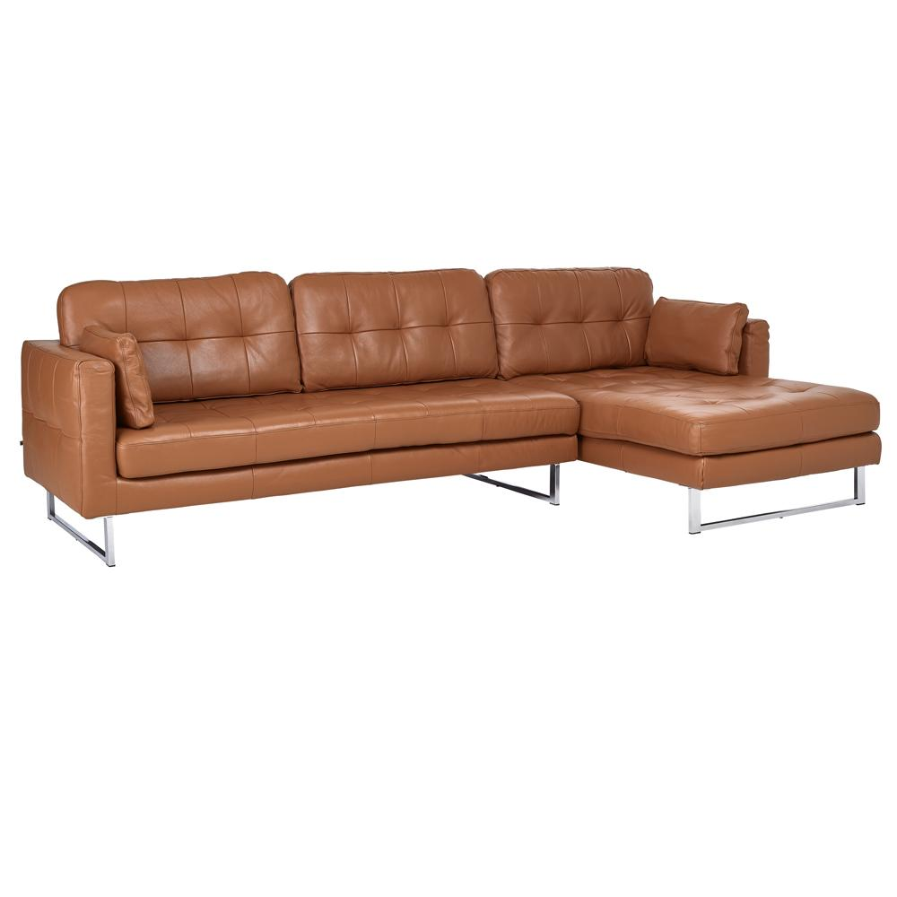 Paris II right hand facing four seater chaise sofa grano leather natural tan