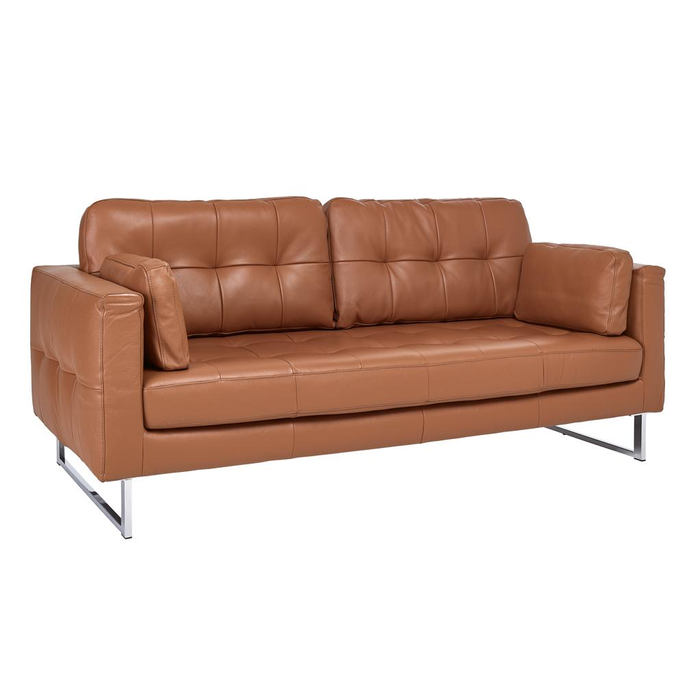Paris II three seater sofa grano leather natural tan