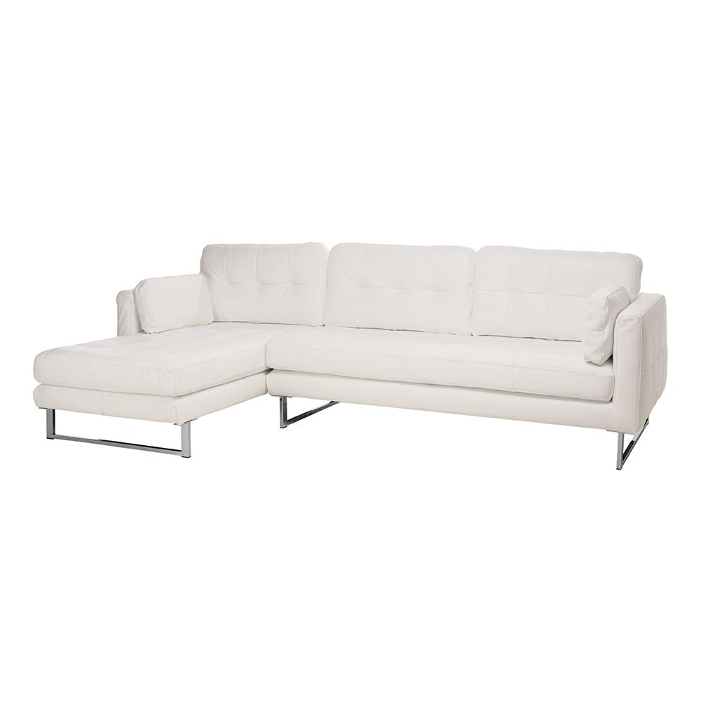 Paris II left hand facing four seater chaise sofa grano leather brilliant white