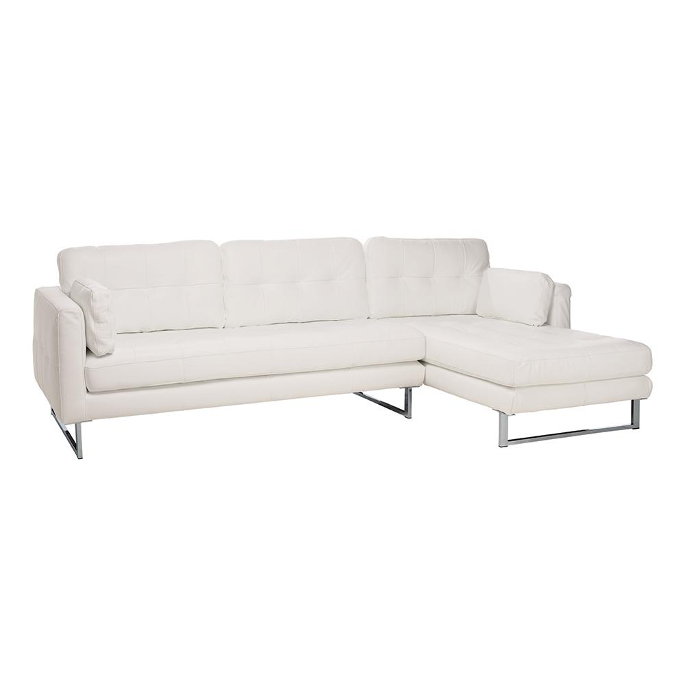 Paris II right hand facing four seater chaise sofa grano leather brilliant white