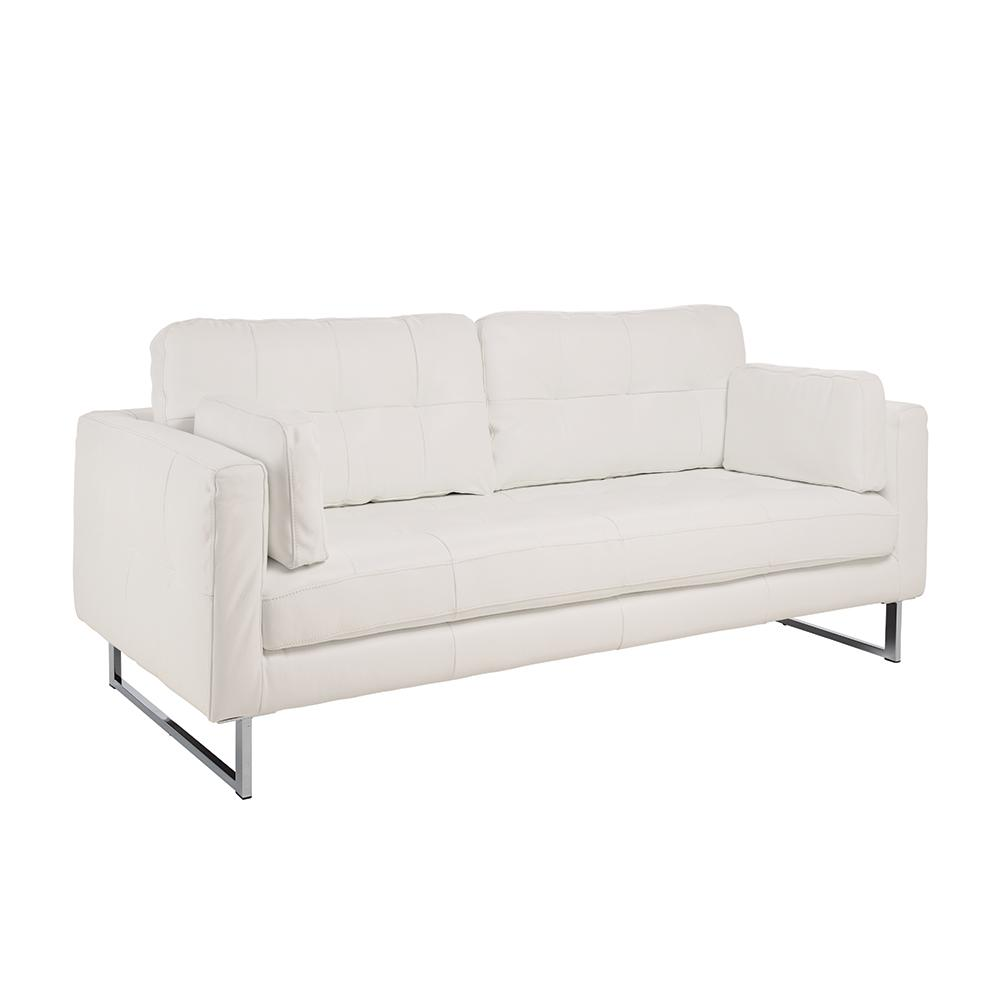 Paris II three seater sofa grano leather brilliant white
