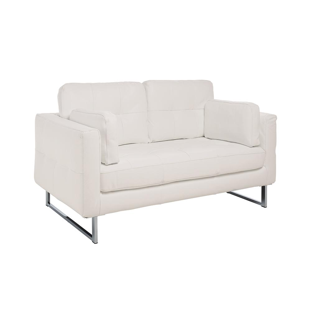Paris II two seater sofa grano leather brilliant white
