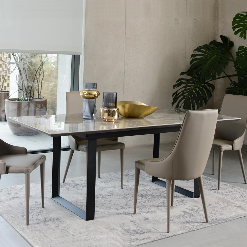 Teno Ceramic Marble Extending 6 8 Seater Dining Table Grey Dwell