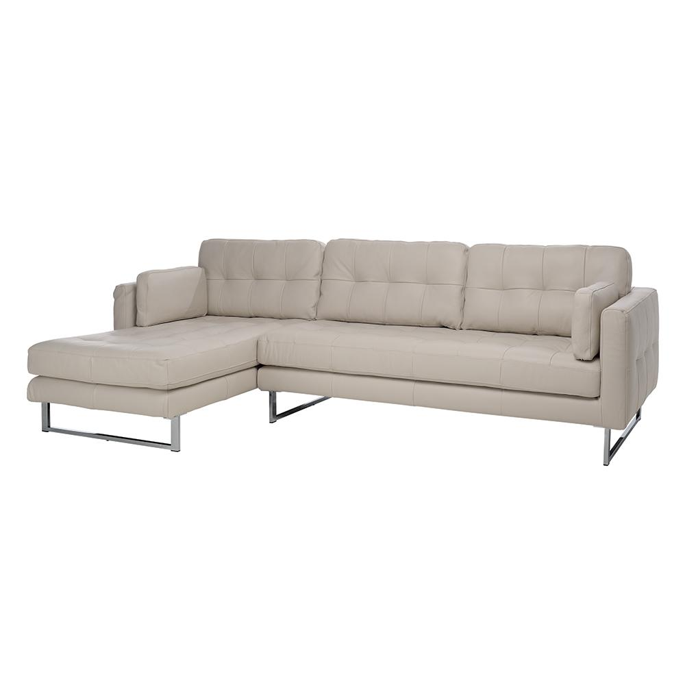 Paris II left hand facing four seater chaise sofa grano leather stone