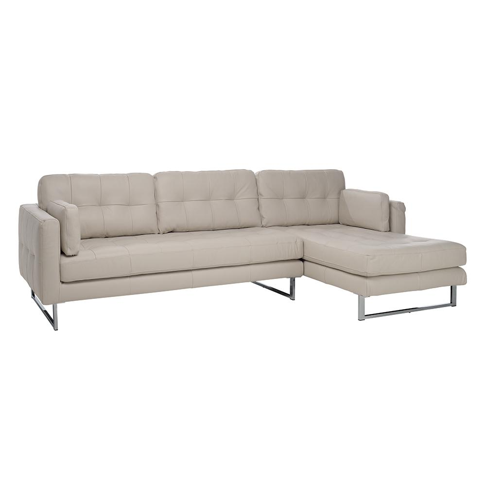 Paris II right hand facing four seater chaise sofa grano leather stone