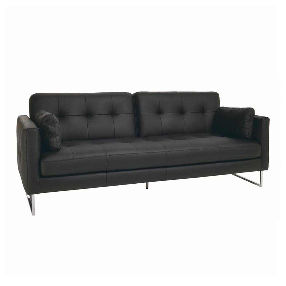 Paris II three seater sofabed grano leather jet black