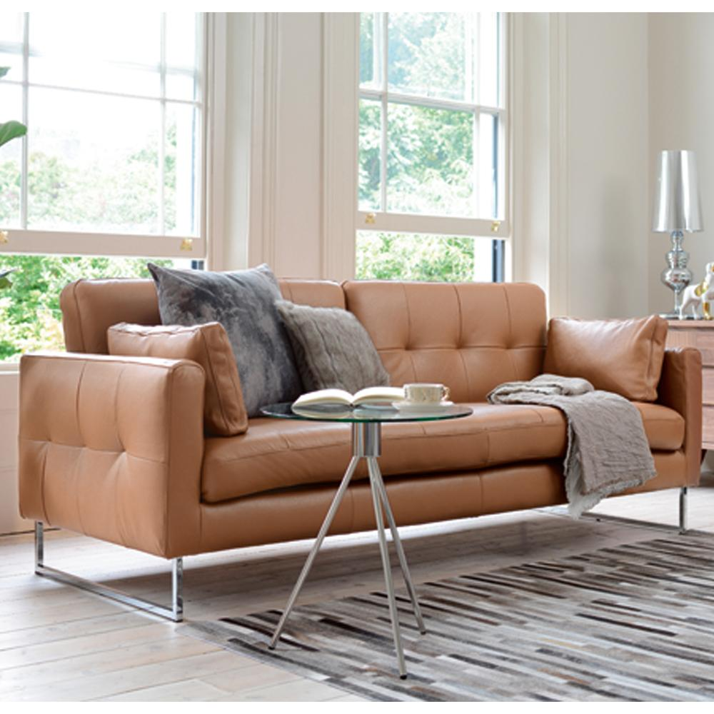 Paris II three seater sofabed grano leather natural tan