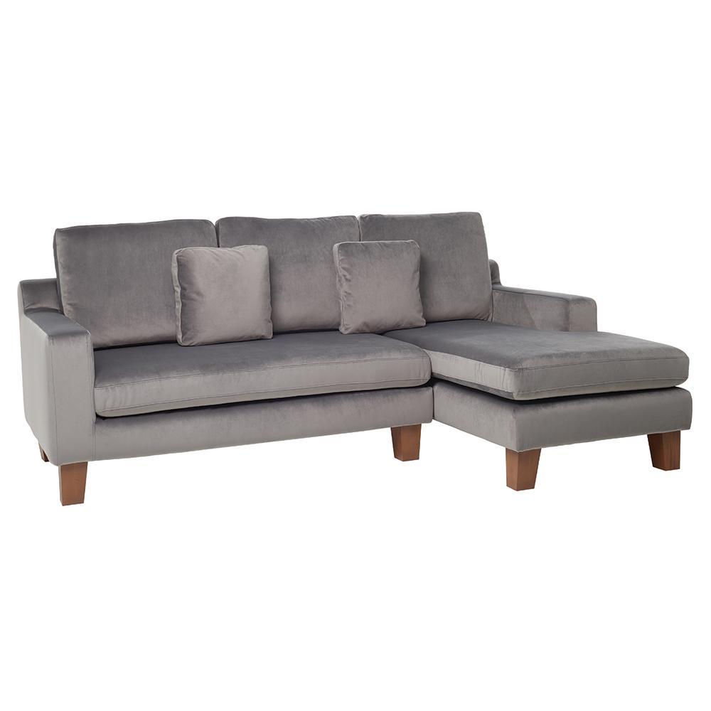 Ankara II right hand facing three seater chaise sofa alba velvet grey