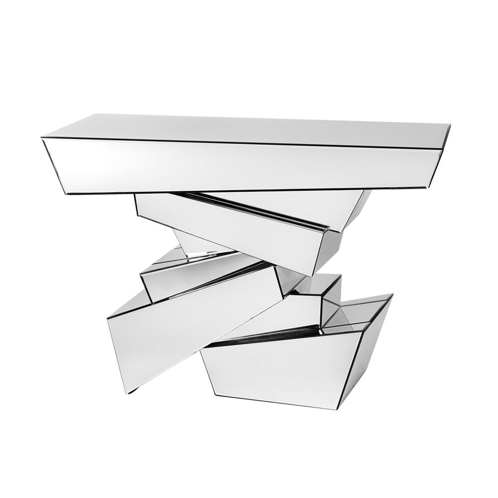 Shard layered mirrored console table