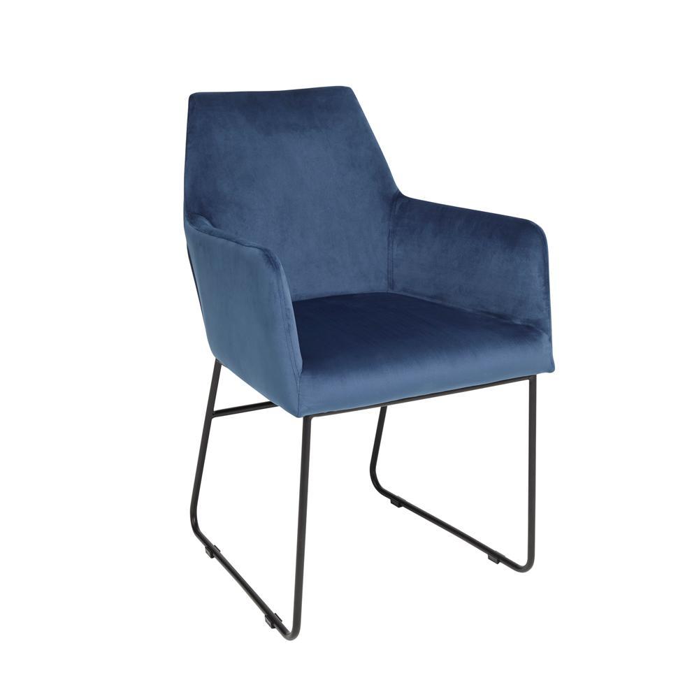 Trono dining armchair blue velvet