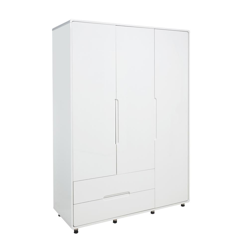 Notch II wardrobe three door with drawers white