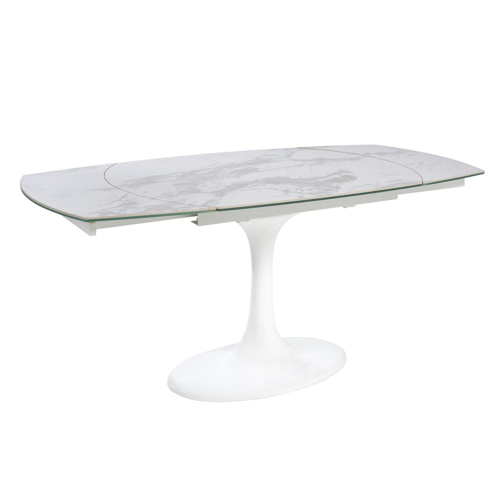 Lille marble ceramic extending 4-6 seater dining table white