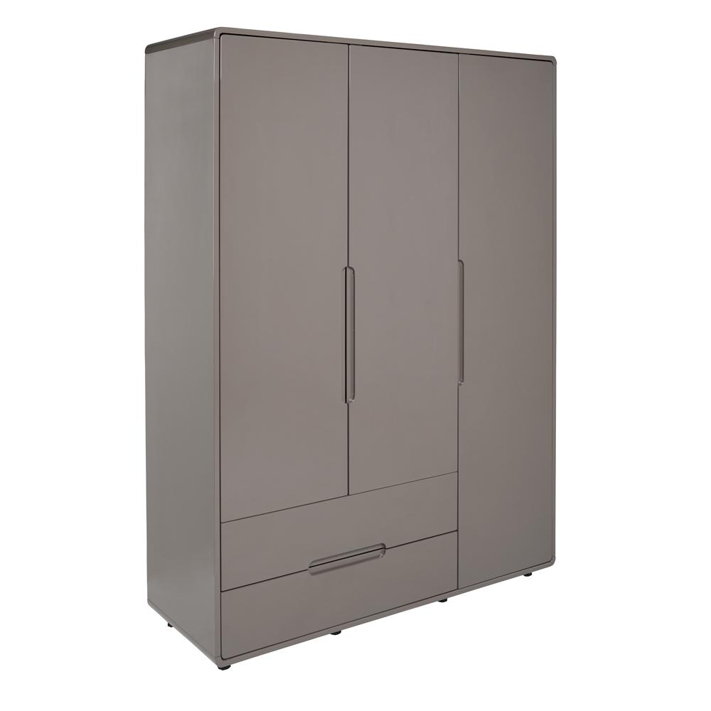 Notch II wardrobe three door with drawers stone