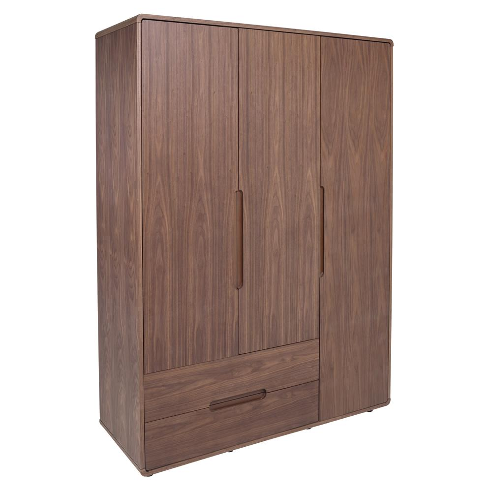 Notch II wardrobe three door with drawers walnut